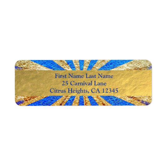 Vintage Circus Carnival Royal Blue Gold Foil Party Return Address Label