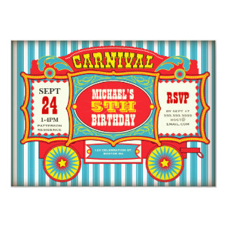 Vintage Circus Carnival Wagon Birthday Party 13 Cm X 18 Cm Invitation Card