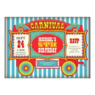Vintage Circus Carnival Wagon Birthday Party 13 Cm X 18 Cm Invitation Card