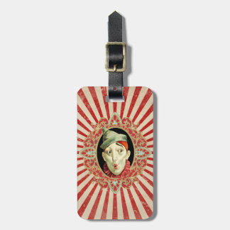 Vintage Circus Clown and Retro Stripes Pattern Luggage Tag