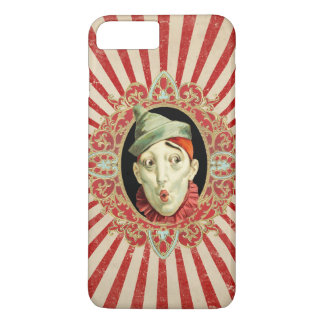 Vintage Circus Clown with Red Distressed Stripes iPhone 7 Plus Case