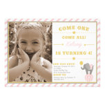 Vintage Circus Elephant - 4th Birthday Invite
