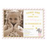 Vintage Circus Elephant - 6th Birthday Custom Invitation