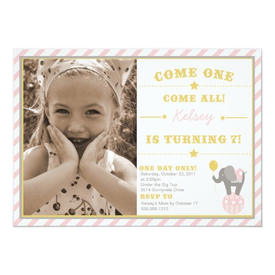 Vintage Circus Elephant - 7th Birthday 13 Cm X 18 Cm Invitation Card