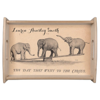 Vintage Circus Elephants Personalized Serving Tray