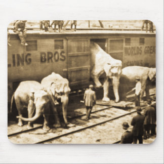 Vintage Circus Elephants Unloading from Train Car Mouse Pad
