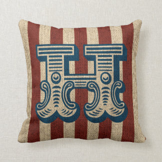 Vintage Circus Letter H Burlap Look 2 Cushion