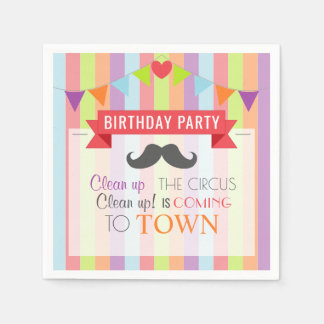Vintage Circus Poster Children's Birthday Party Paper Napkins