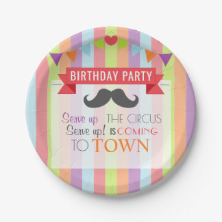 Vintage Circus Poster Children's Birthday Party Paper Plate