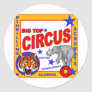 Vintage Circus Poster Classic Round Sticker