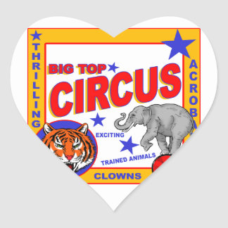 Vintage Circus Poster Heart Sticker