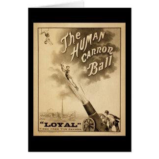 Vintage Circus Poster Human Canon Ball circa 1879 Card