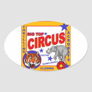Vintage Circus Poster Oval Sticker