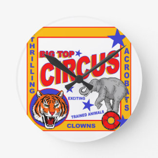 Vintage Circus Poster Round Clock
