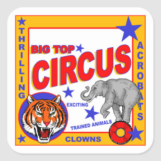 Vintage Circus Poster Square Sticker