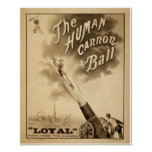 Vintage Circus Poster - The Human Cannon Ball
