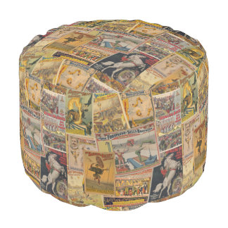 Vintage Circus Posters Round Pouffe