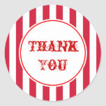 Vintage Circus Stripes Thank You Stickers