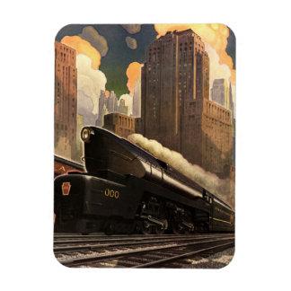 Vintage City, T1 Duplex Train on Railroad Tracks Rectangle Magnets