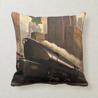 Vintage City, T1 Duplex Train on Railroad Tracks Throw Cushion