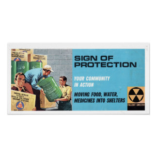 Vintage Civil Defense Sign of Protection Poster