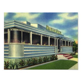 Vintage Classic 50s Retro Restaurant Pelican Diner 11 Cm X 14 Cm Invitation Card
