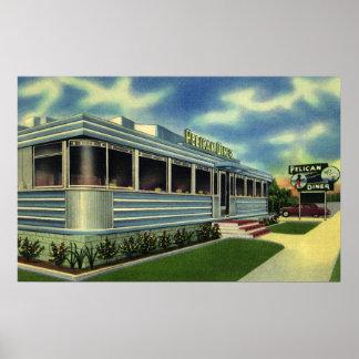Vintage Classic 50s Retro Restaurant Pelican Diner Posters