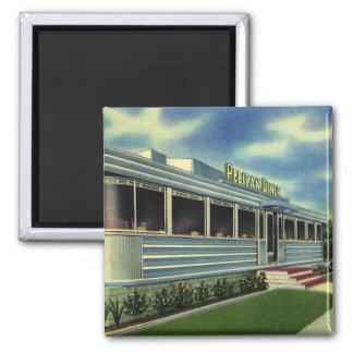 Vintage Classic 50s Retro Restaurant Pelican Diner Square Magnet
