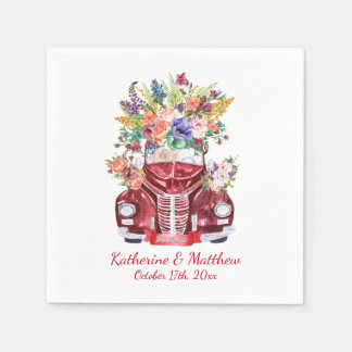 Vintage Classic Car with Watercolor Floral Wedding Paper Napkins