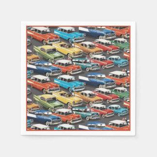 Vintage Classic Cars Pattern Napkins Paper Napkins