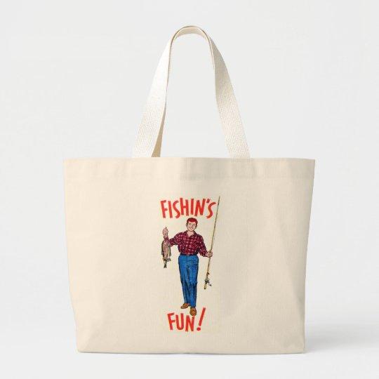 Vintage Classic Fishin's Fun Fishing Illustration Large Tote Bag