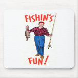 Vintage Classic Fishin's Fun Fishing Illustration Mousepad
