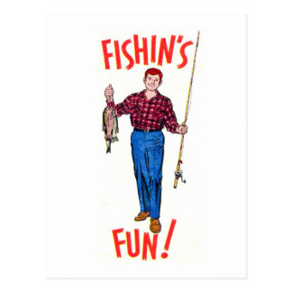 Vintage Classic Fishin's Fun Fishing Illustration Postcard