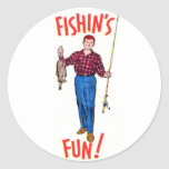 Vintage Classic Fishin's Fun Fishing Illustration Round Stickers
