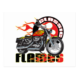 Vintage Classic Flame Paint Job Motorcycle Postcard