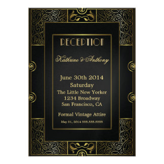 Vintage Classic Gatsby Style Reception Announcement