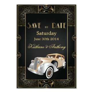 Vintage Classic Gatsby Style Save the Date Card