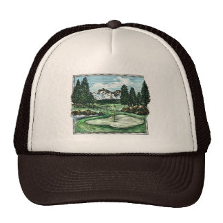 Vintage classic golf course scenic hat
