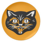Vintage Classic Halloween Black Cat Face Fangs Plate