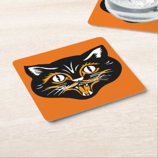 Vintage Classic Halloween Black Cat Face Fangs Square Paper Coaster