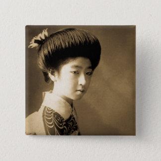 Vintage Classic Japanese Beauty Geisha 芸者 Japan 15 Cm Square Badge