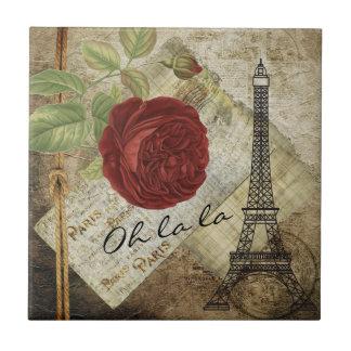 Vintage Classic Paris Floral Style Small Square Tile