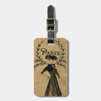Vintage Classic Paris Lady Luggage Tag