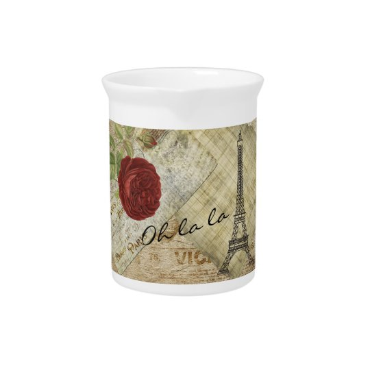Vintage Classic Paris Style - Red Rose Drink Pitchers