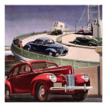 Vintage Classic Sedan Cars Driving on the Freeway Personalized Announcement