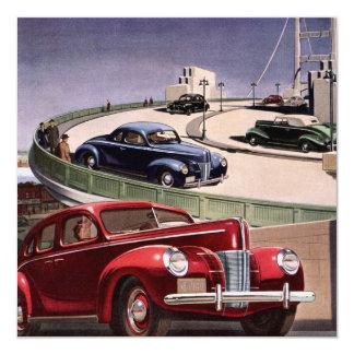 Vintage Classic Sedan Cars Driving on the Freeway Invitations