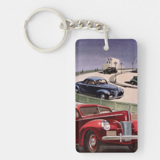 Vintage Classic Sedan Cars Driving on the Freeway Double-Sided Rectangular Acrylic Key Ring