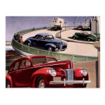 Vintage Classic Sedan Cars Driving on the Freeway Post Cards
