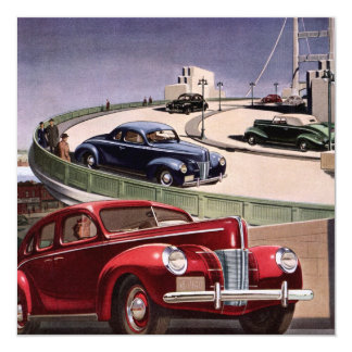 Vintage Classic Sedan Cars on Freeway Invitation