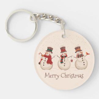 Vintage Classic Snowmen Christmas Keychain